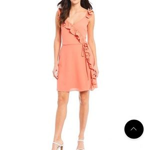 1. State v neck ruffle faux wrap dress